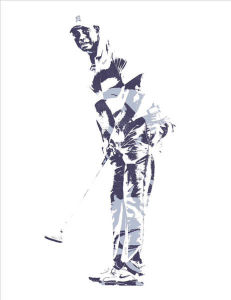 Wall Art - Mixed Media - Tiger Woods Pga Golf Pro Pixel Art 2 by Joe Hamilton