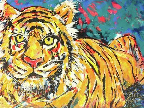 Wall Art - Painting - Tiger#1 Zoo Atlanta by Arrin Burgand