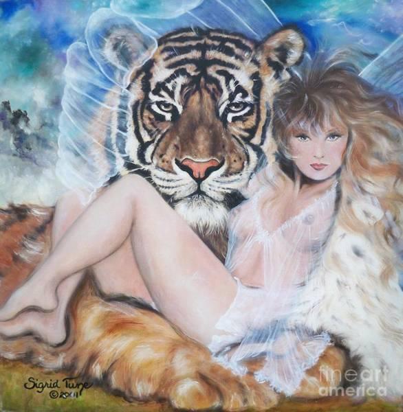 Painting - Blaa Kattproduksjoner        Tigers Angel by Sigrid Tune