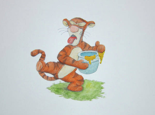 Painting - Tigger And The Honey Pot Yuck by Steven Powers SMP