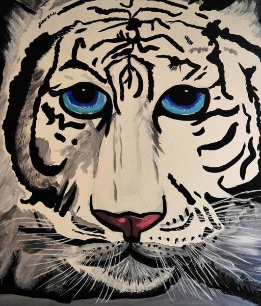 Tigger Wall Art - Painting - White Tiger  by Nora Shepley