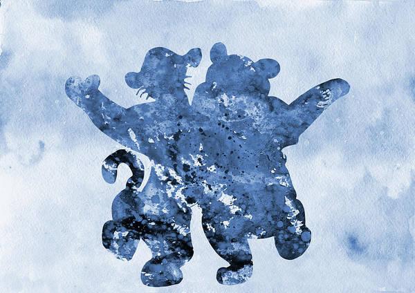 Tigger Wall Art - Digital Art - Tigger With Winnie The Pooh-blue by Erzebet S