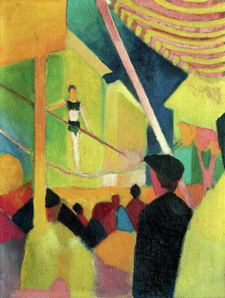 Trapeze Painting - Tightrope Artist by August Macke
