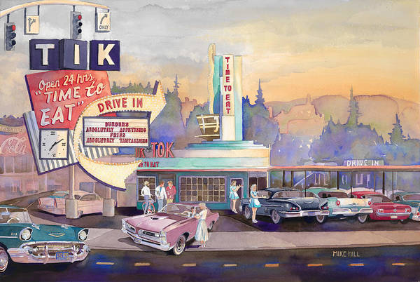 Drive-ins Painting - Tik Tok Drive-inn by Mike Hill
