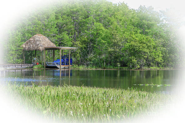 Airboat Photograph - Tiki Hut Airboat by Tom Claud