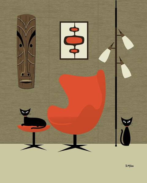 Digital Art - Tiki On The Wall by Donna Mibus