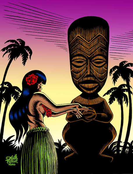 Oahu Drawing - Tiki Sunset by Keith Tucker