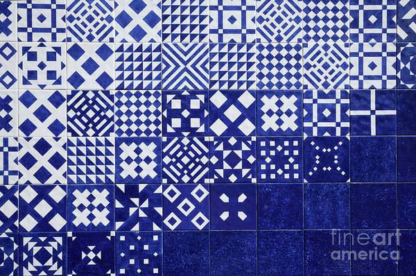Photograph - Tile Blue Background by Ariadna De Raadt