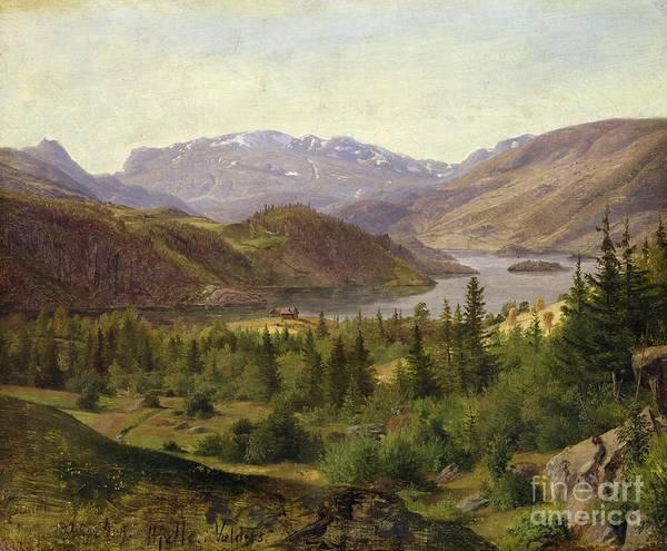 Norway Painting - Tile Fjord by Louis Gurlitt