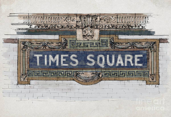 Wall Art - Painting - Tile Mosaic Sign, Times Square Subway New York, Handmade Sketch by Drawspots Illustrations