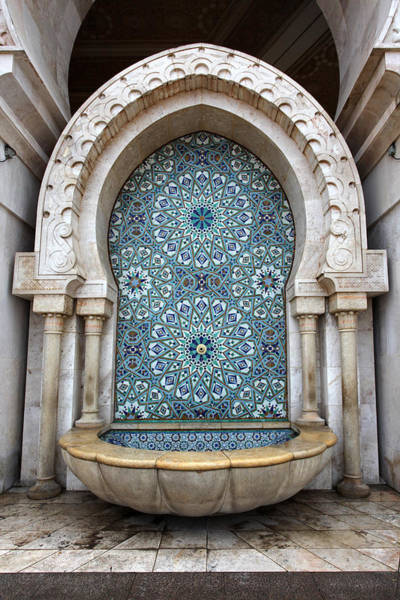 Photograph - Tiled Marble Fountain, Hassan II Mosque by Aivar Mikko