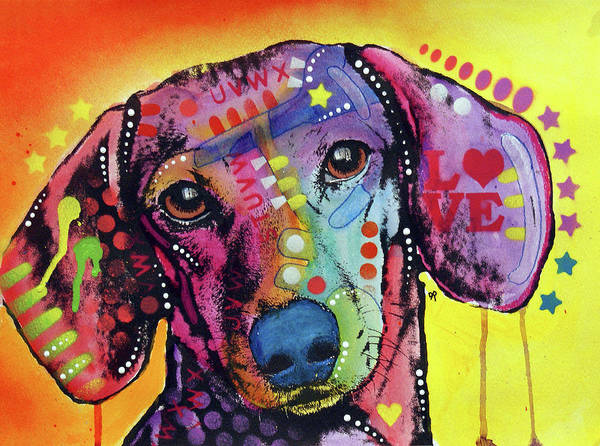 Wall Art - Painting - Tilt Dachshund Love by Dean Russo Art