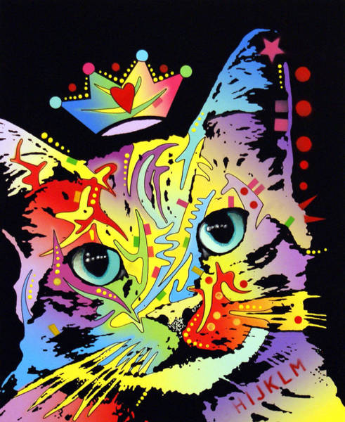 Kitten Wall Art - Painting - Tilted Cat Crowned by Dean Russo Art