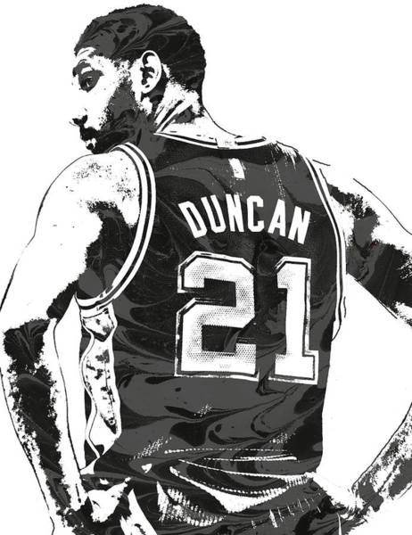 Nba Mixed Media - Tim Duncan San Antonio Spurs Pixel Art 2 by Joe Hamilton