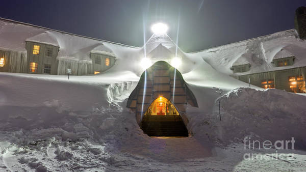 Mt Hood Photograph - Timberline Lodge Entry Mt Hood Snowdrifts by Dustin K Ryan