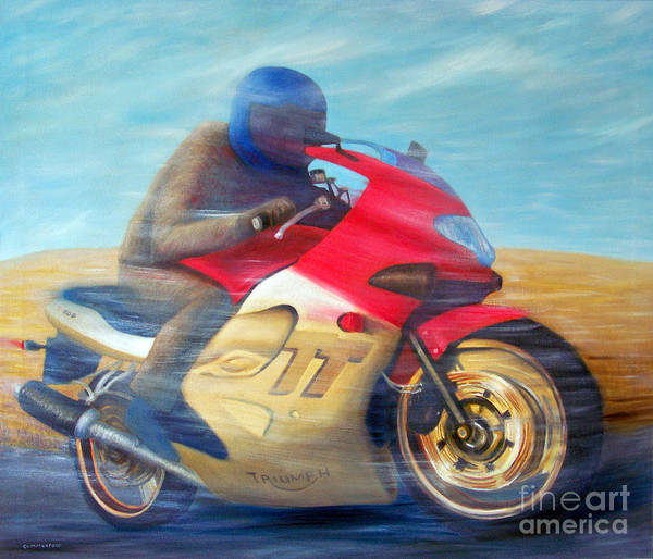 Bike Racing Painting - Time And Space Equation - Triumph 600tt by Brian  Commerford