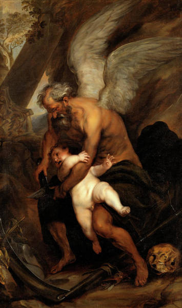 Man Of God Wall Art - Painting - Time Clipping The Wings Of Love by Follower of Anthony van Dyck