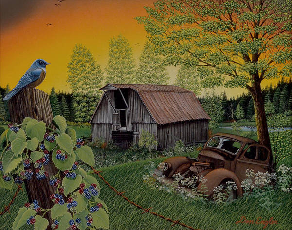 Eastern Bluebird Painting - Time Gone By by Don Engler