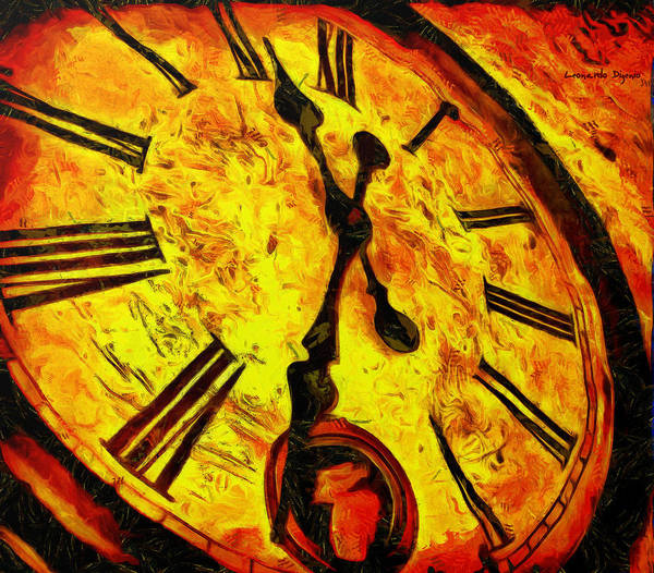Clock Face Painting - Time Is Coming - Pa by Leonardo Digenio