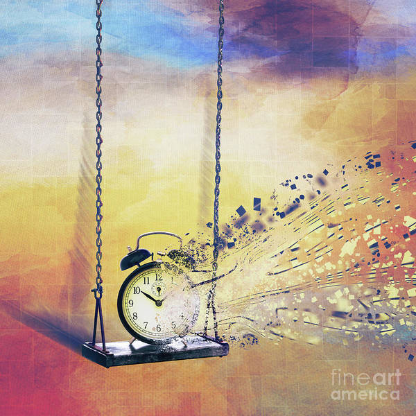 Disintegration Digital Art - Time Is Swinging by Etienne Outram
