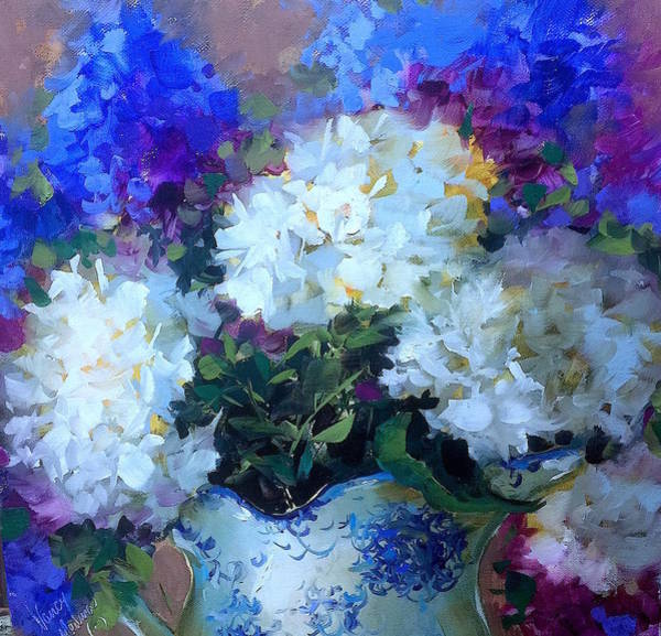 Time To Dream White Hydrangeas Art Print