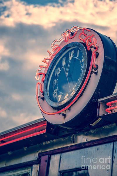 Wall Art - Photograph - Time To Eat Neon Diner Clock by Edward Fielding