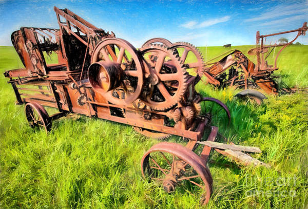 Vintage Tractor Painting - Time Vanished IIi by Dan Carmichael