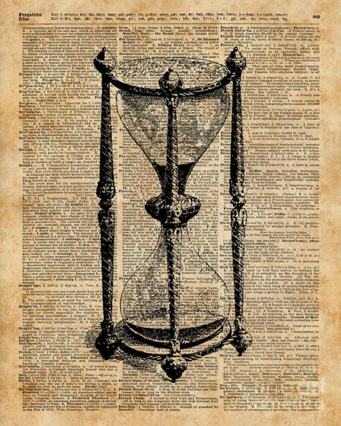 Bedding Digital Art - Time,antique Hourglass,sandglas Vintage Dictionary Art by Anna W