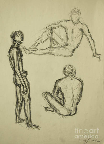 Drawing - Timed Gestures Exercise by Angelique Bowman