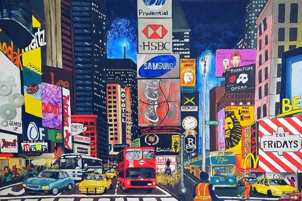 Time Mixed Media - Times Square by Autumn Leaves Art