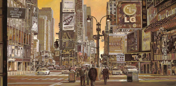 Square Wall Art - Painting - Times Square by Guido Borelli