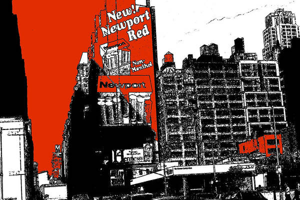 Drawing - New York Broadway Billboards - Black Red Illustration by Peter Potter
