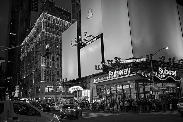 Photograph - Times Square Subway Stop At Night New York Ny Black And White by Toby McGuire