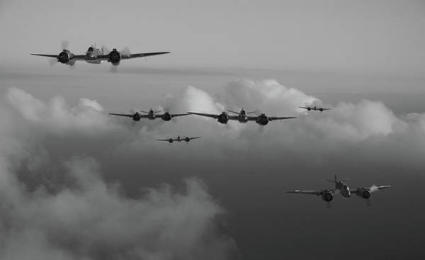 Royal Air Force Digital Art - Timor Strike - Bw by Mark Donoghue