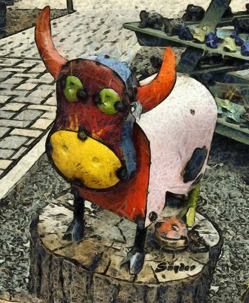 Photograph - Tin Bull And A Ladybug by Floyd Snyder