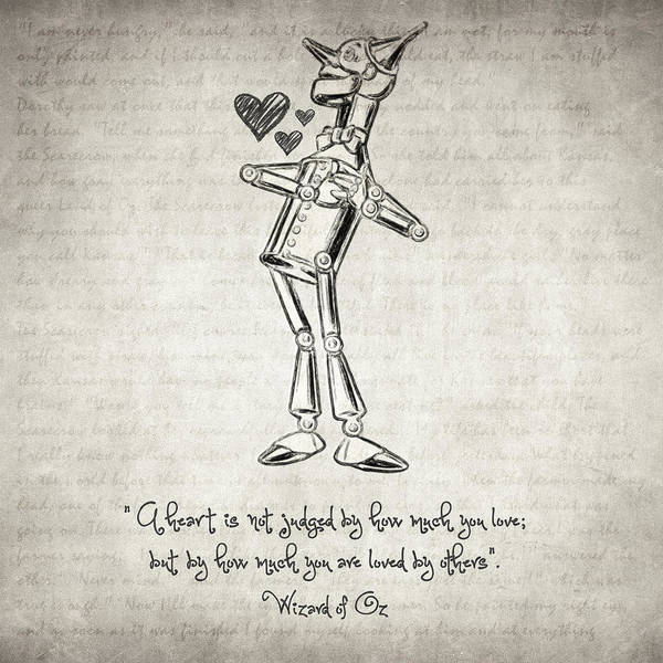 Hand Drawn Drawing - Tin Woodman - Wizard Of Oz Quote by Zapista Zapista
