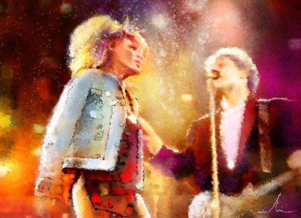 Bryan Painting - Tina Turner And Bryan Adams by Miki De Goodaboom