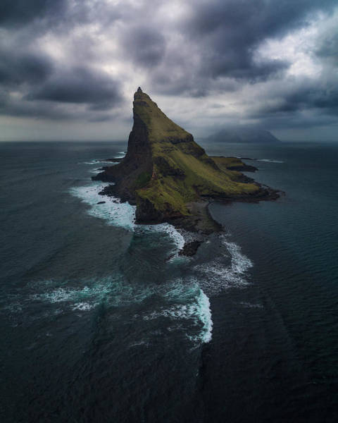 Sea Stacks Wall Art - Photograph - Tindholmur Aerial by Tor-Ivar Naess