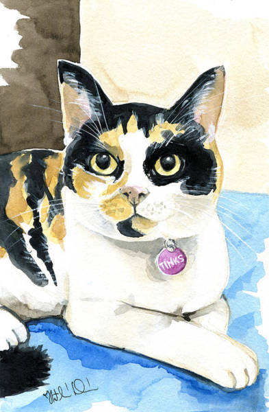 Painting - Tinks The Minx - Calico Cat Portrait by Dora Hathazi Mendes
