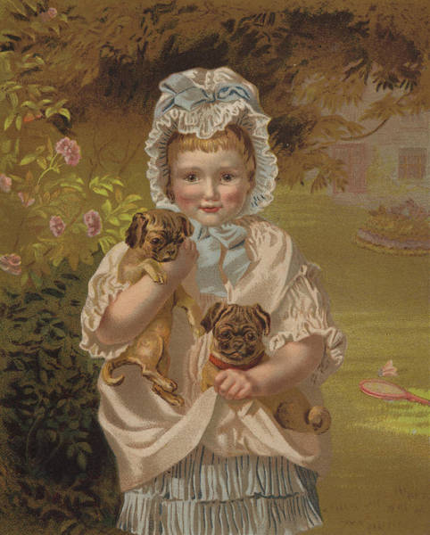 Girly Girl Painting - Tiny Pets by English School