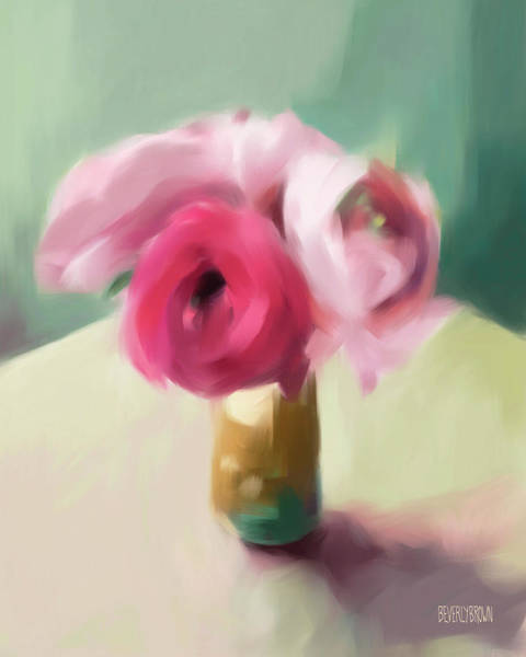 Wall Art - Painting - Tiny Pink Ranunculus Floral Art by Beverly Brown
