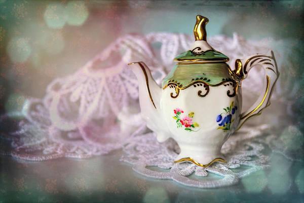 Doily Wall Art - Photograph - Tiny Teapot  by Carol Japp