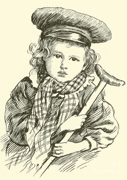 Scarf Drawing - Tiny Tim by Harold Copping