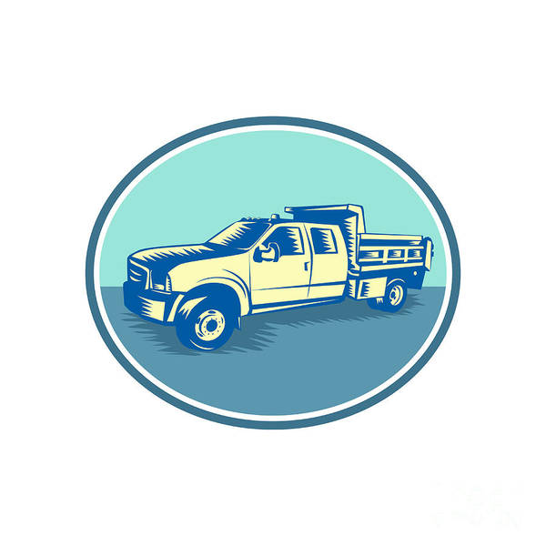 Pick Up Truck Digital Art - Tipper Pick-up Truck Oval Woodcut by Aloysius Patrimonio