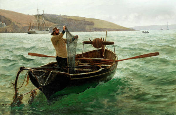 Shrimp Painting - Tipping Out A Shrimp Trawl by Charles Napier Hemy RA