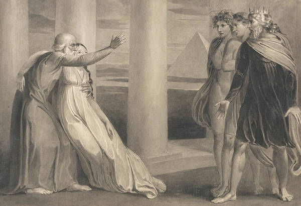 Drawing - Tiriel Supporting The Dying Myratana And Cursing His Sons by William Blake