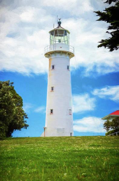 Photograph - Tiritiri Matangi Lighthouse New Zealand Painterly II by Joan Carroll