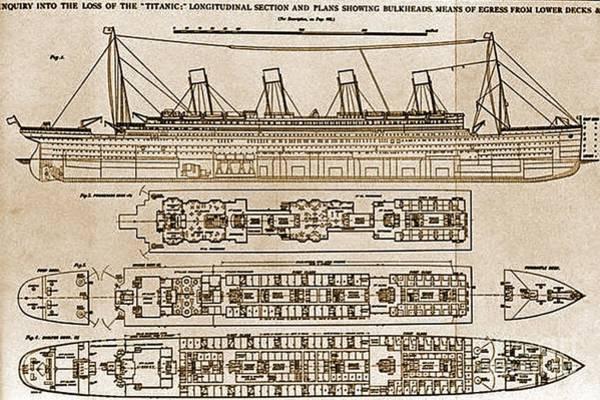 Sea Stacks Drawing - Titanic Blueprint by John Malone