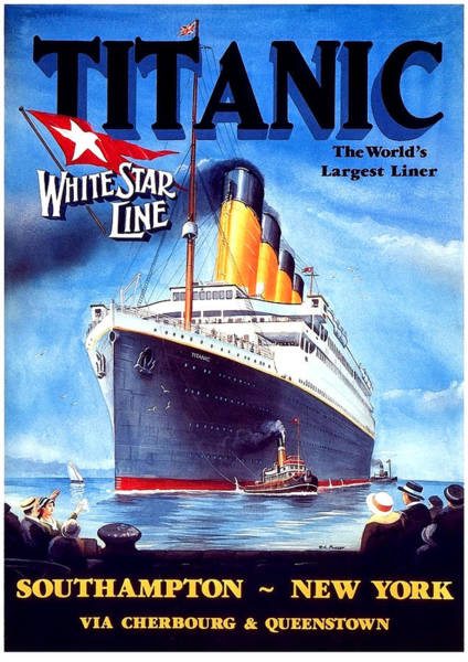Cruiser Painting - Titanic, Cruiser, Vintage Travel Poster by Long Shot
