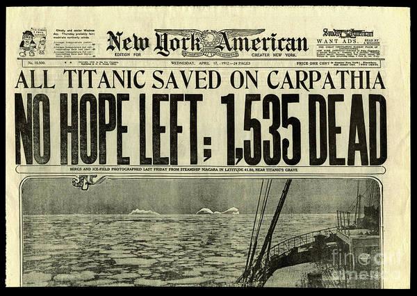 Wall Art - Photograph - Titanic Newspaper  by Jon Neidert